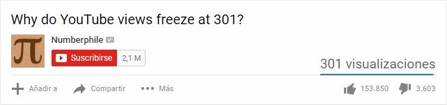 Contador de visitas de Youtube se congela en 301